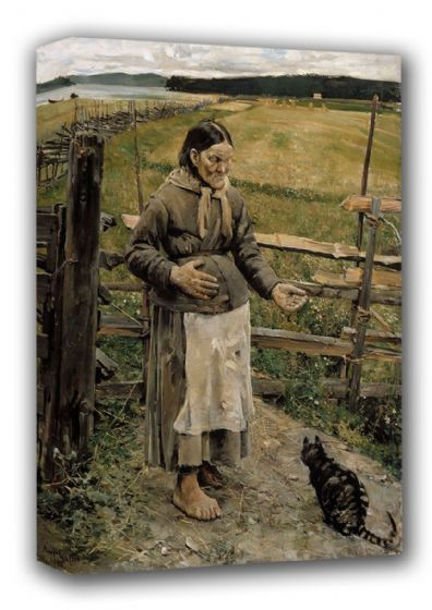 Gallen-Kallela, Akseli: Old Woman and Cat. Fine Art Canvas. Sizes: A3/A2/A1 (001081)